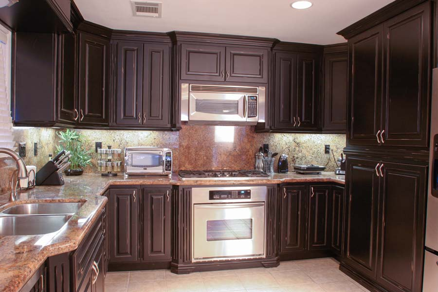 Standard Faceframe Kitchen Cabinets with Distressed Finish ...